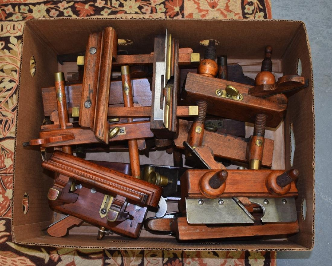 A GOOD COLLECTION OF NINE ANTIQUE WOODEN PLANES of