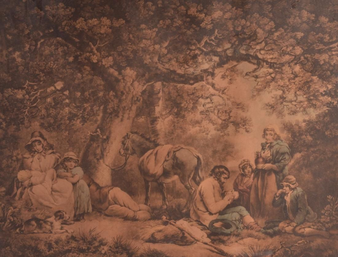 """A FRAMED PRINT, """"Traveller's"""", a group of people"""