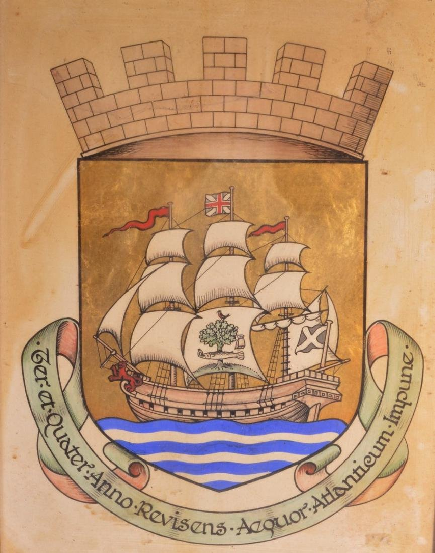 AN EARLY PAINTED CREST, decorated with a ship under a