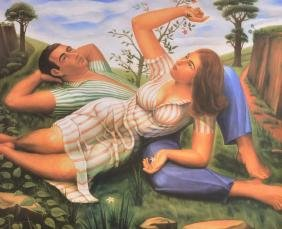 CUBIST SCHOOL, Framed Print, a couple lazing in a field