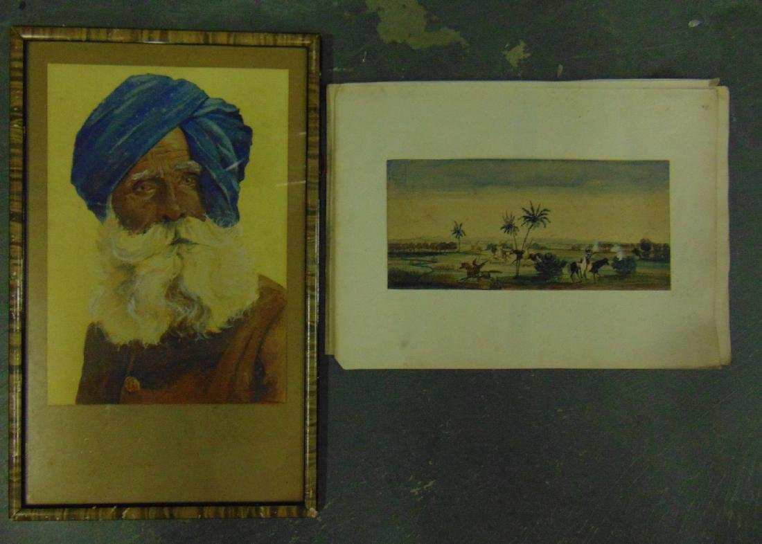 AN UNUSUAL UNFRAMED 19TH CENTURY WATERCOLOUR depicting