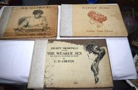 THREE LARGE BOOKS CONTAINING DRAWINGS, by C D Gibson.