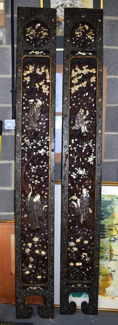 A LARGE PAIR OF 19TH CENTURY JAPANESE BLACK LACQUER