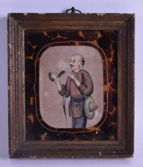 A MID 19TH CENTURY CHINESE FRAMED PITH PAPER WORK