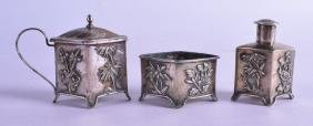 A LATE 19TH CENTURY CHINESE EXPORT SILVER CRUET SET by
