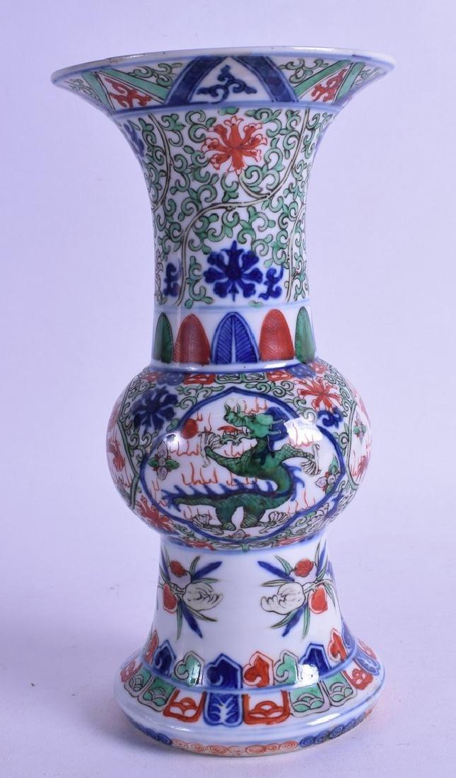 A CHINESE WUCAI PORCELAIN GU SHAPED VASE bearing Wanli