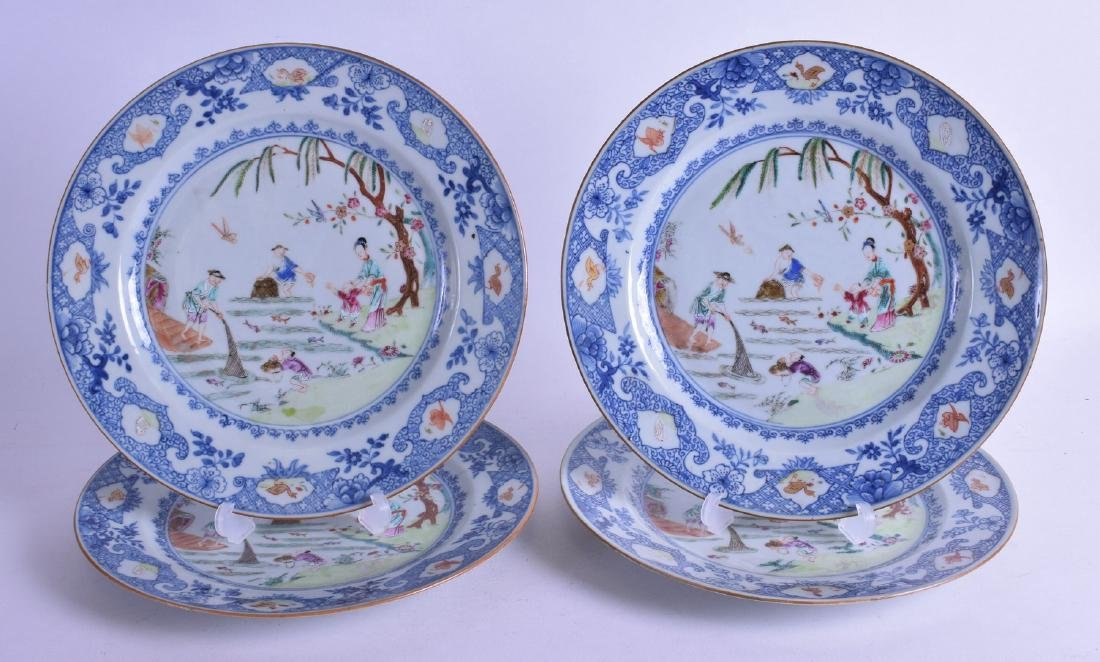 A SET OF FOUR 18TH CENTURY CHINESE EXPORT FAMILLE ROSE