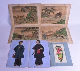 AN UNUSUAL 19TH CENTURY PAINTED PITH PAPER FOLDING