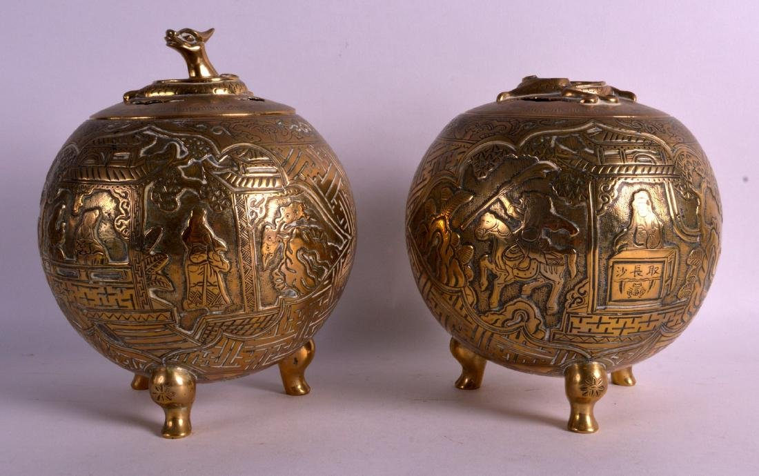 A PAIR OF 19TH CENTURY CHINESE BRONZE INCENSE BURNERS