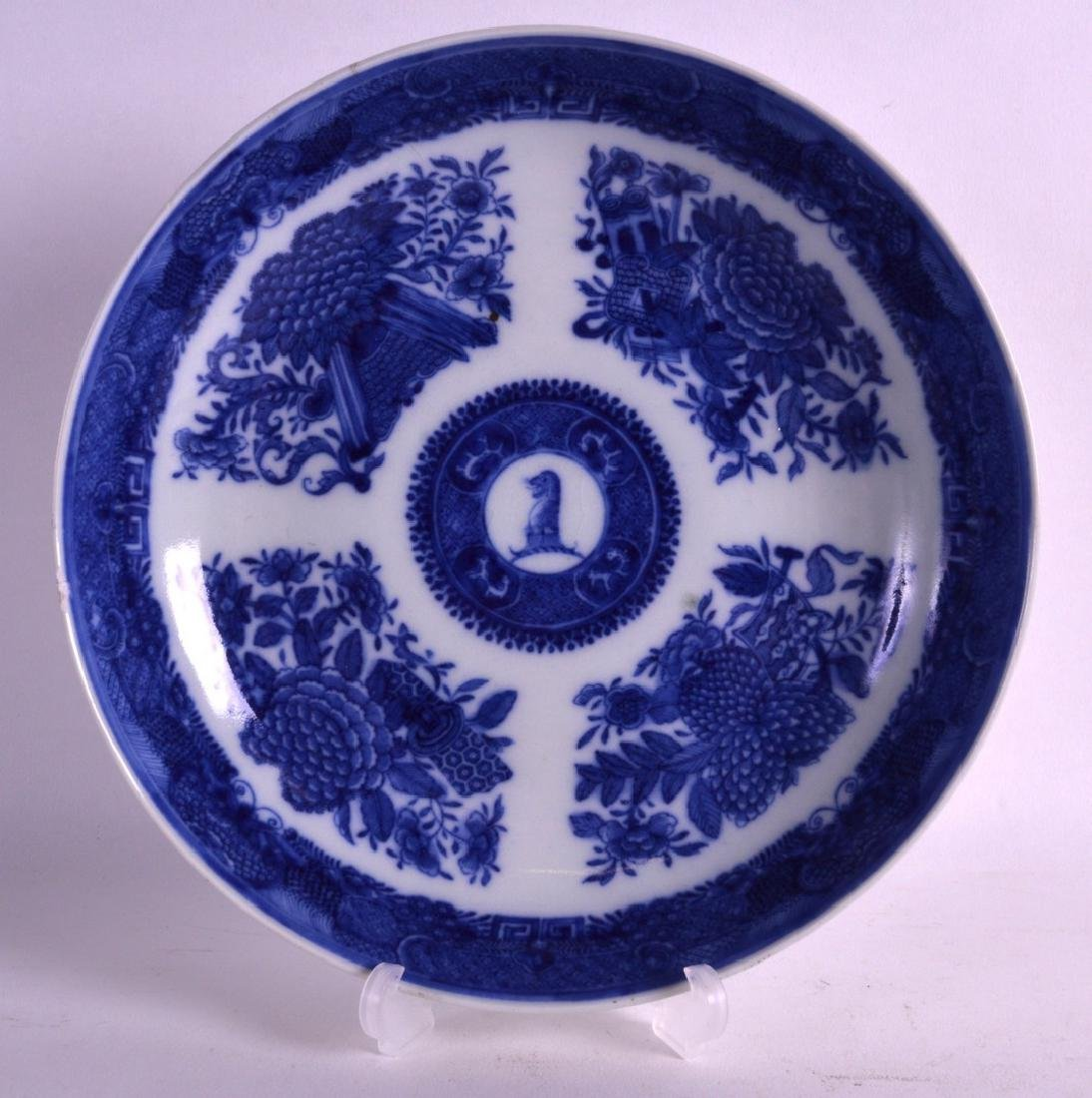 AN 18TH CENTURY CHINESE BLUE AND WHITE ARMORIAL DISH