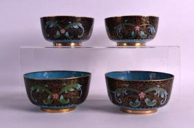 A SET OF FOUR EARLY 20TH CENTURY CHINESE CLOISONNE
