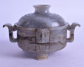 A GOOD CHINESE QING DYNASTY GREEN JADE CENSER AND COVER