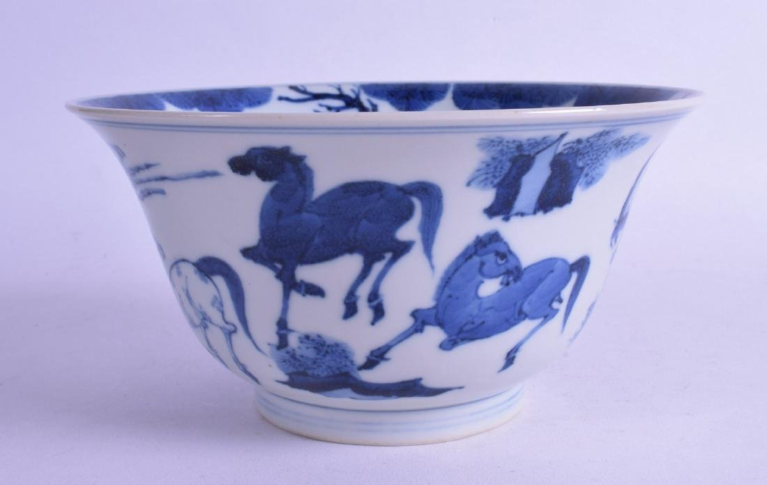A CHINESE BLUE AND WHITE PORCELAIN BOWL bearing
