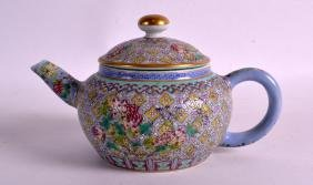 A CHINESE FAMILLE ROSE TEAPOT AND COVER Jiaqing mark