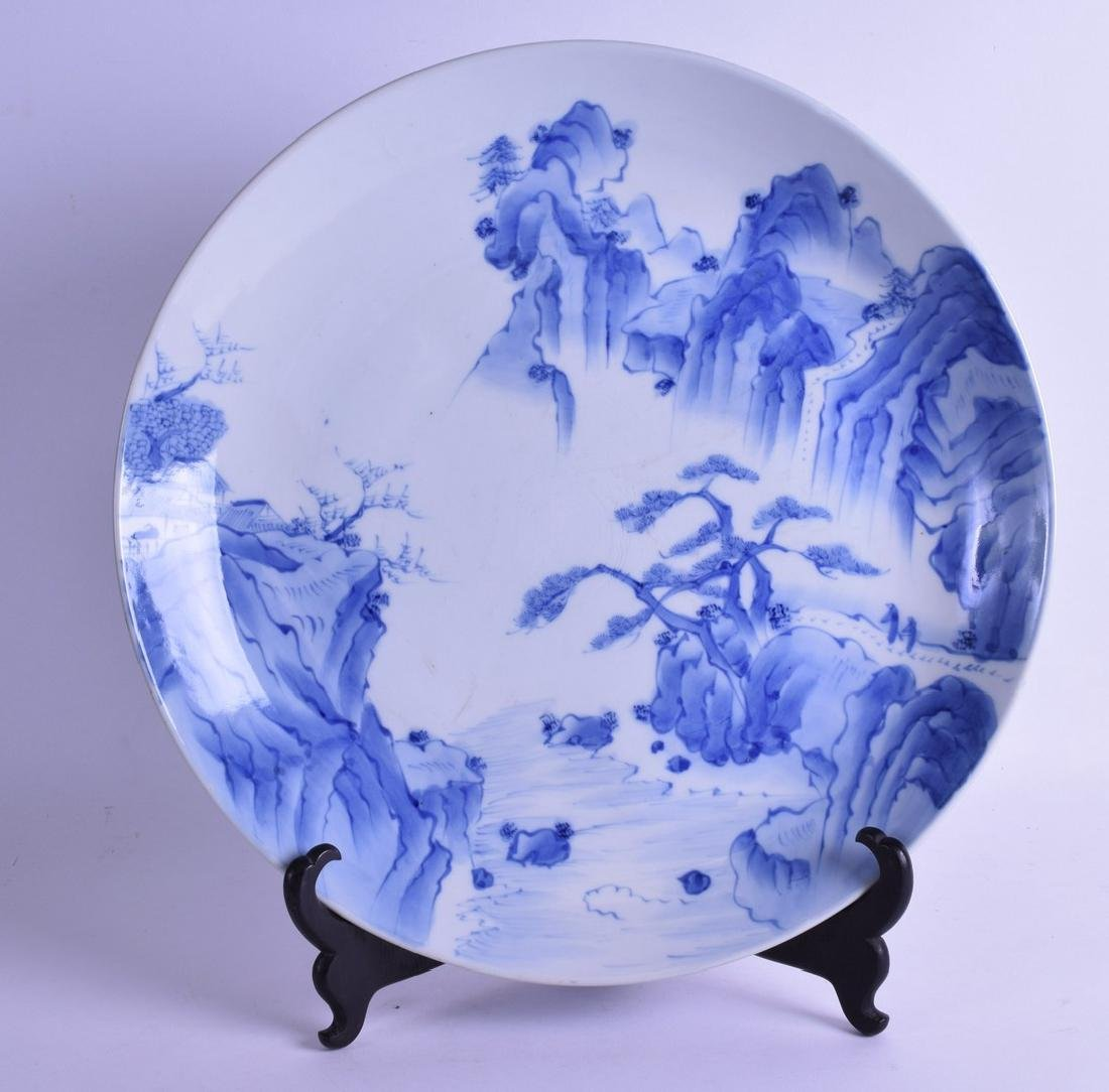 A LARGE 19TH CENTURY JAPANESE BLUE AND WHITE HIRADO