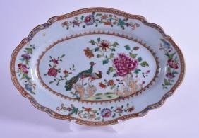 A RARE 18TH CENTURY CHINESE EXPORT FAMILLE ROSE DISH