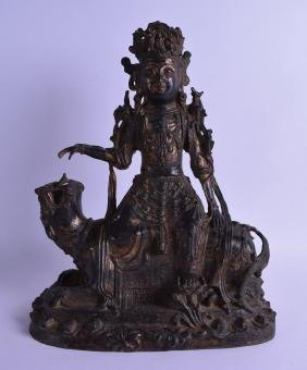 A LARGE CHINESE POLYCHROMED BRONZE FIGURE OF GUANYIN