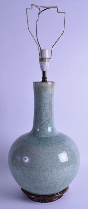 A GOOD 18TH/19TH CENTURY CHINESE CELADON CRACKLE GLAZED
