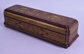 A CHINESE CARVED HARDWOOD BOX AND COVER decorated with