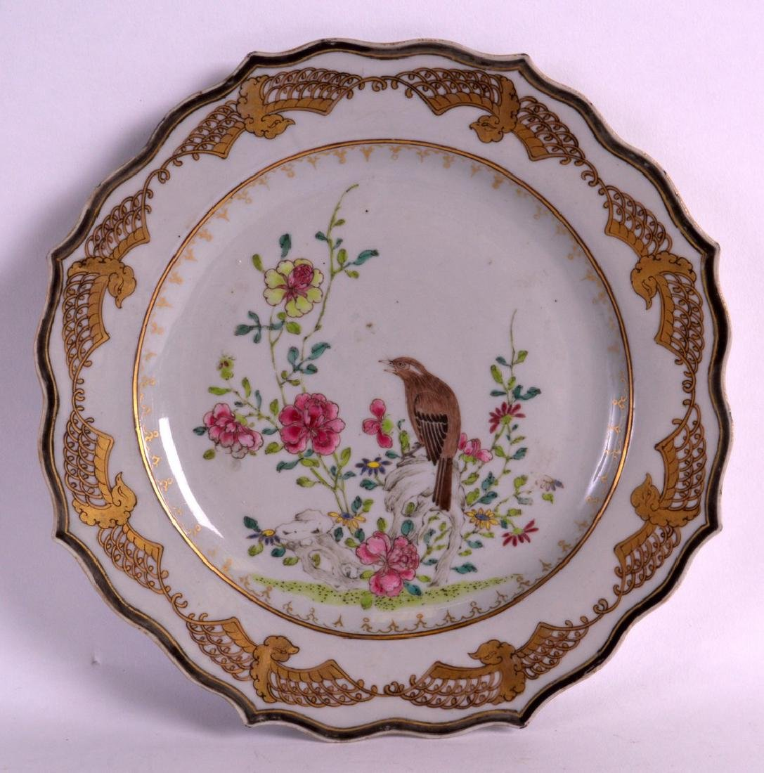 AN EARLY 18TH CENTURY CHINESE FAMILLE ROSE PLATE