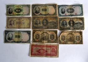A GROUP OF TEN VARIOUS CHINESE BANKNOTES in various