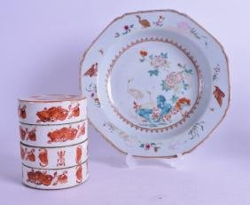 AN 18TH CENTURY CHINESE FAMILLE ROSE OCTAGONAL DISH