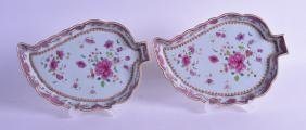 A RARE PAIR OF 18TH CENTURY CHINESE EXPORT FAMILLE ROSE