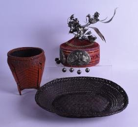 AN EARLY 20TH CENTURY CHINESE SILVER AN SILKWORK HAT