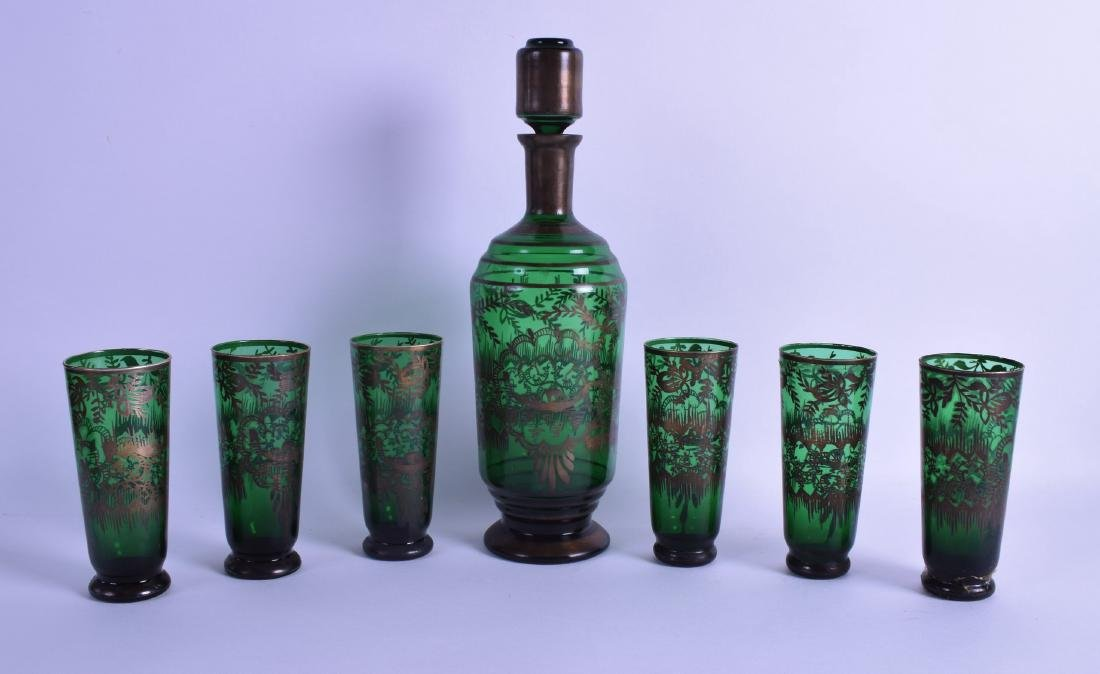 A BOHEMIAN GREEN GLASS DECANTER AND STOPPER together