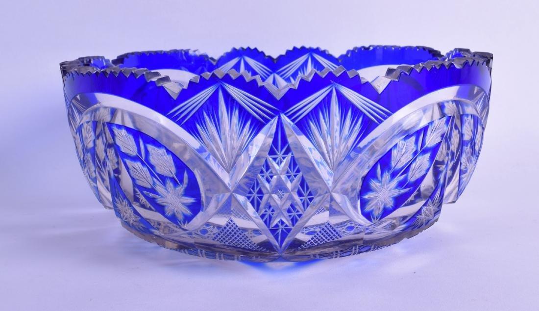 A BOHEMIAN BLUE FLASH CRYSTAL GLASS BOWL. 22 cm