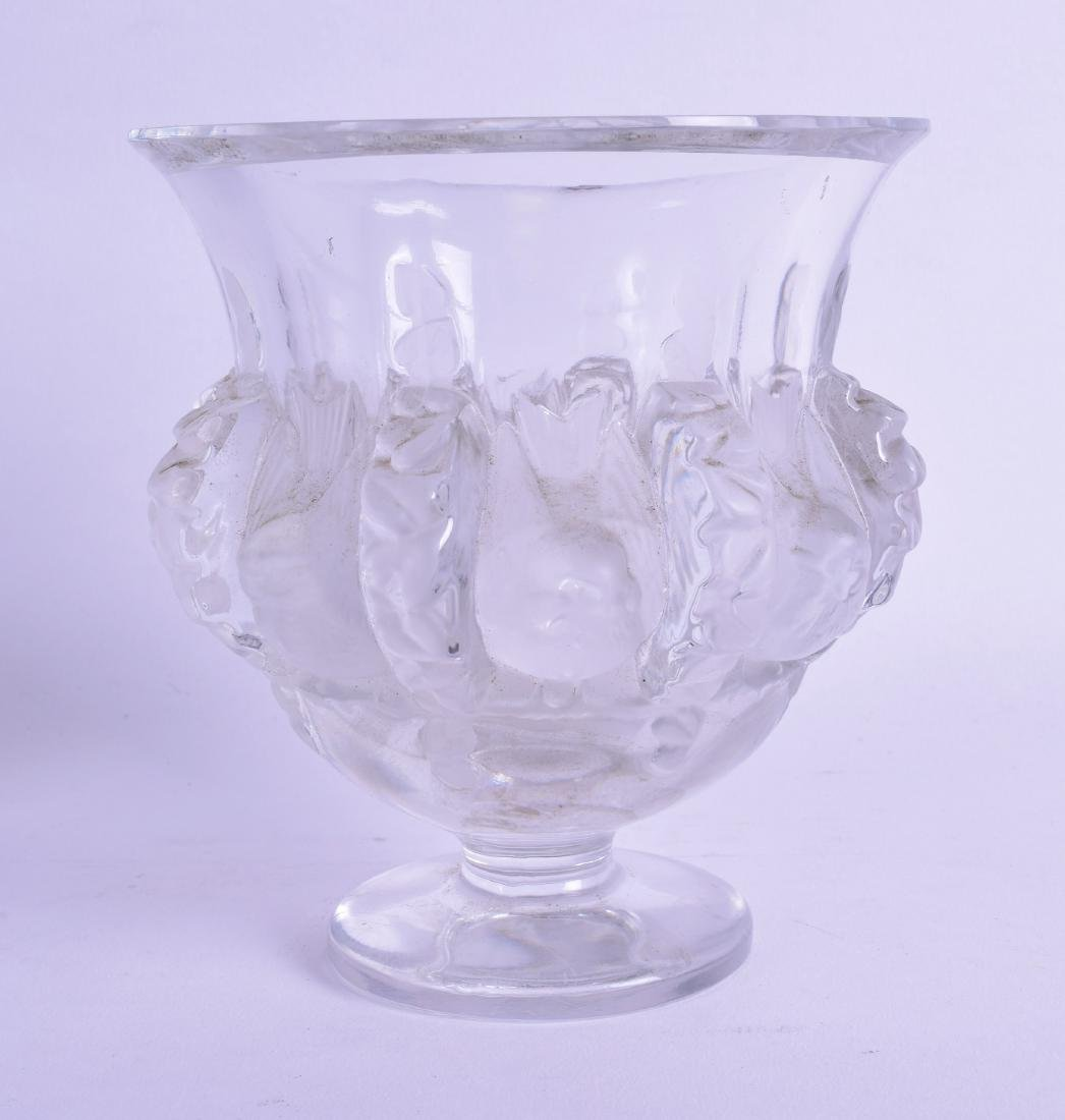 A FRENCH LALIQUE CRYSTAL GLASS VASE decorated in relief