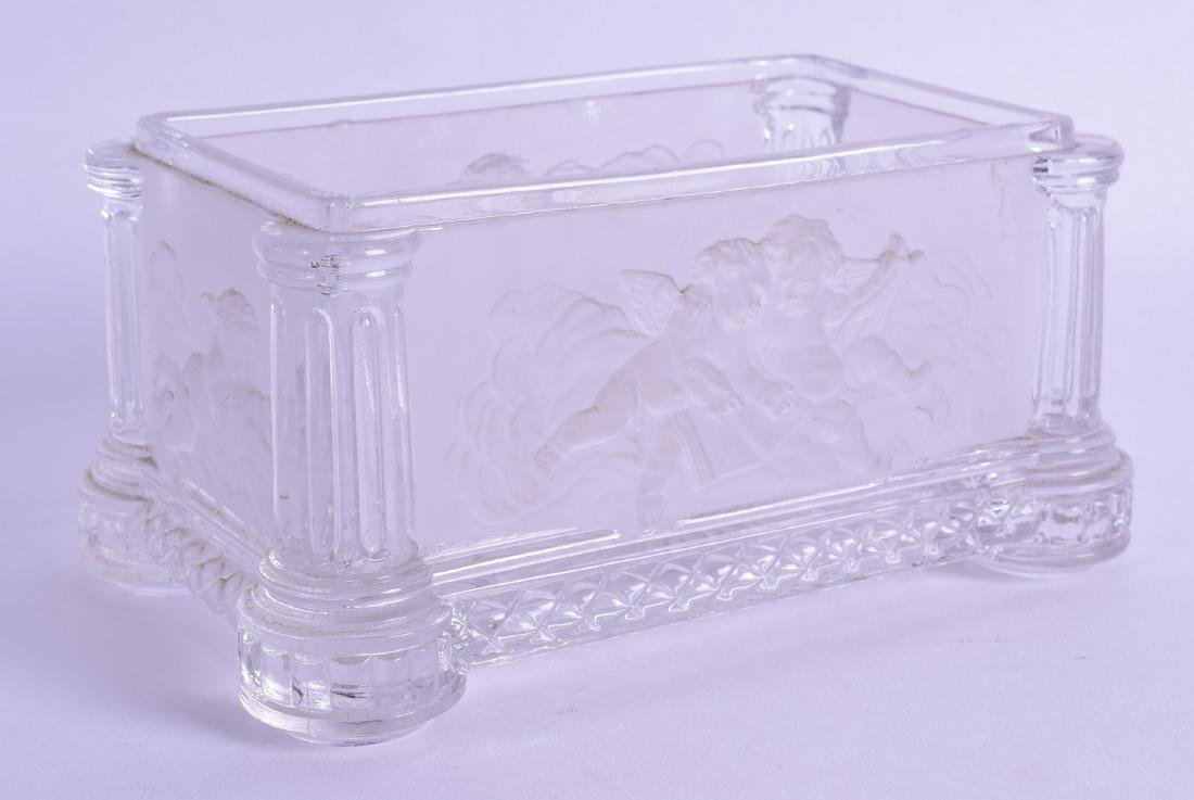 A GOOD BACCARAT CRYSTAL BOX decorated in relief with