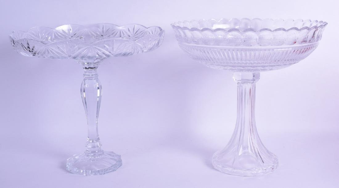 TWO VERY LARGE VINTAGE GLASS COMPORTS. 31 cm x 34 cm.
