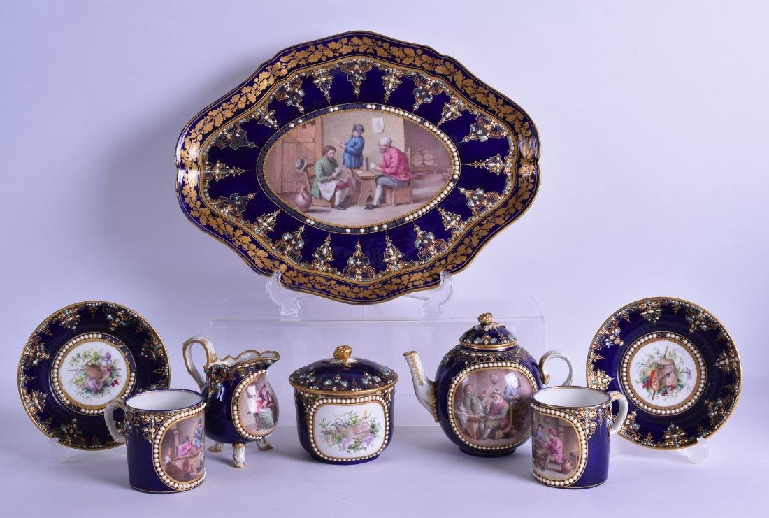 A FINE 19TH CENTURY SEVRES PORCELAIN TEA FOR TWO SET ON