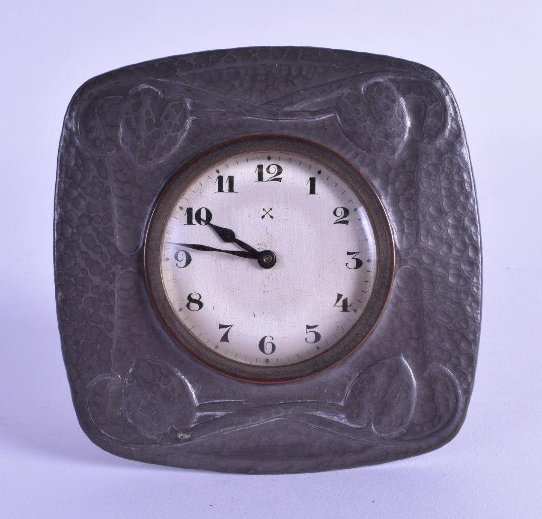 A STYLISH ART NOUVEAU LIBERTY & CO PEWTER DESK CLOCK in
