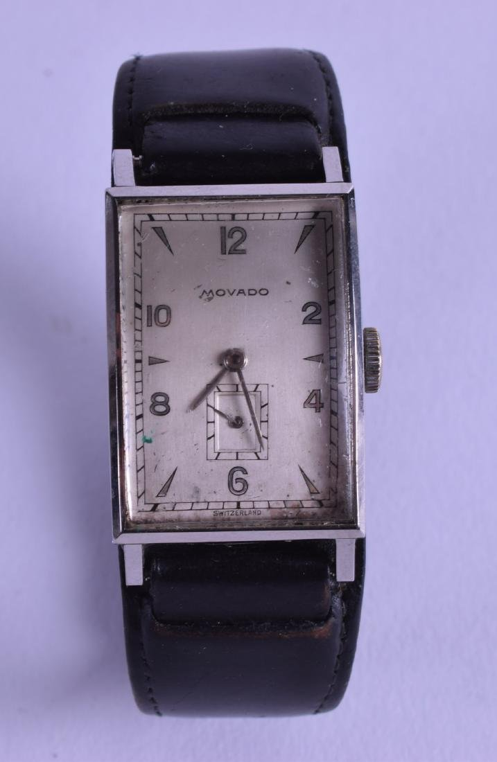A VINTAGE GENTLEMANS MOVADO WRISTWATCH with rectangular