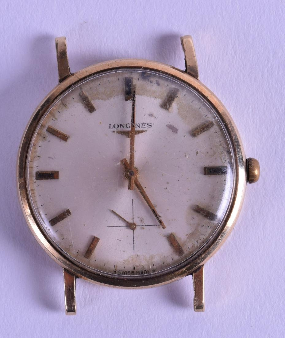 A VINTAGE 9CT GOLD GENTLEMANS LONGINES WATCH CASE with