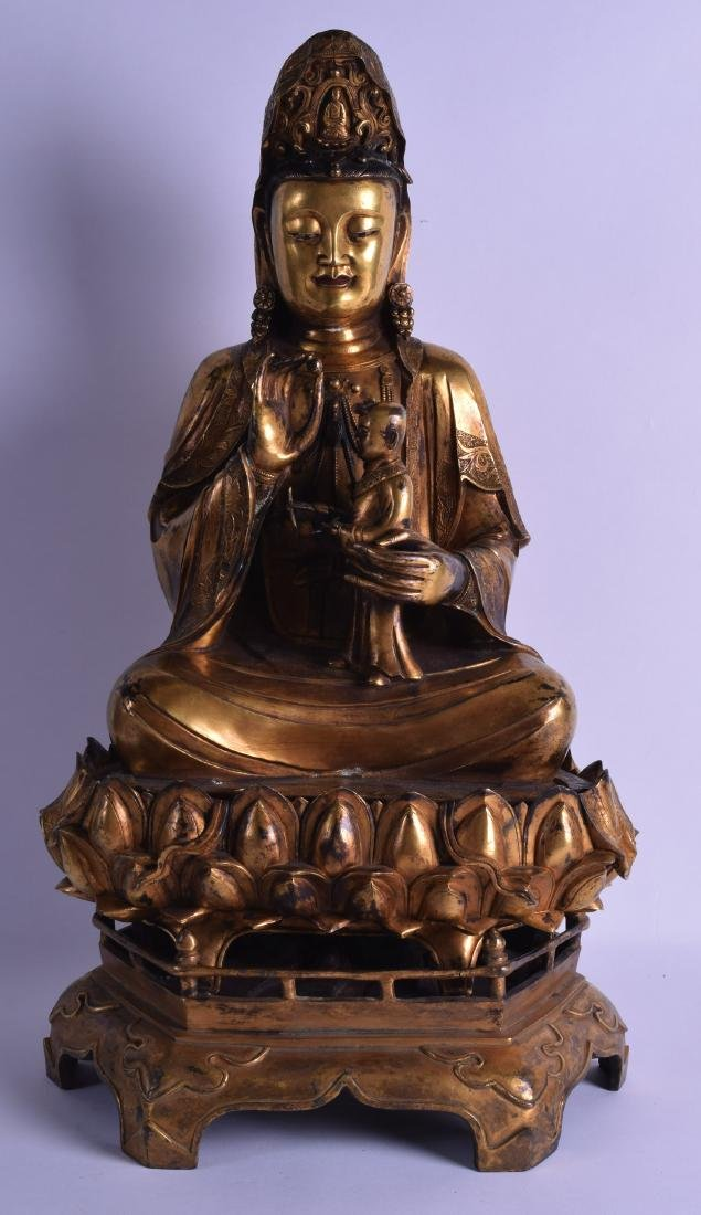 A GOOD CHINESE SINO TIBETAN GILT BRONZE FIGURE OF
