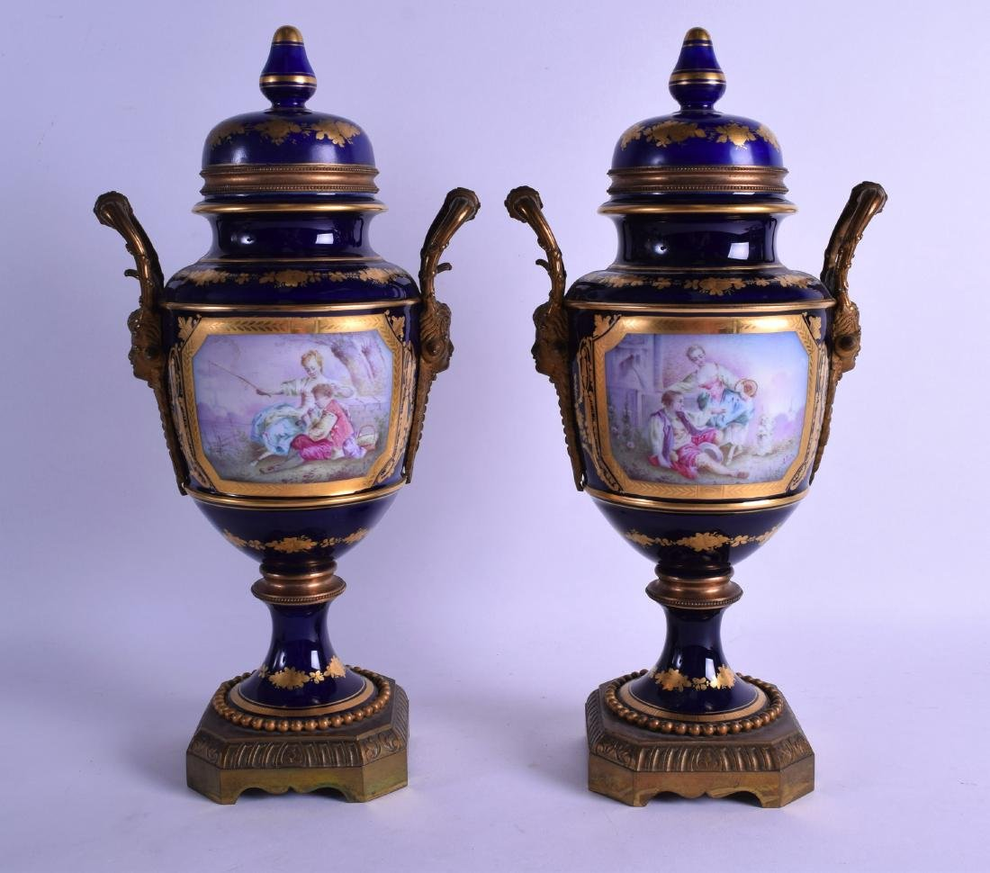 A LARGE PAIR OF 19TH CENTURY SEVRES PORCELAIN VASES AND