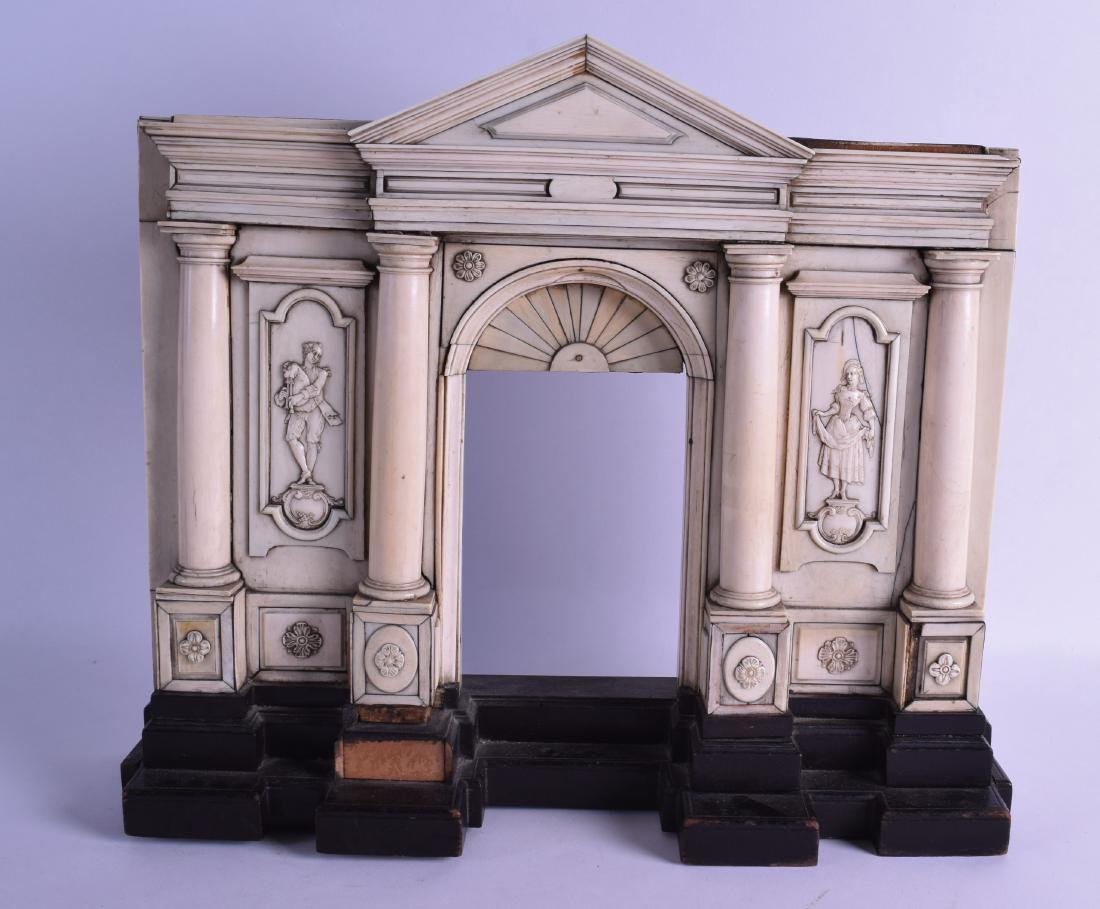 A RARE 18TH CENTURY CONTINENTAL CARVED IVORY PORTICO
