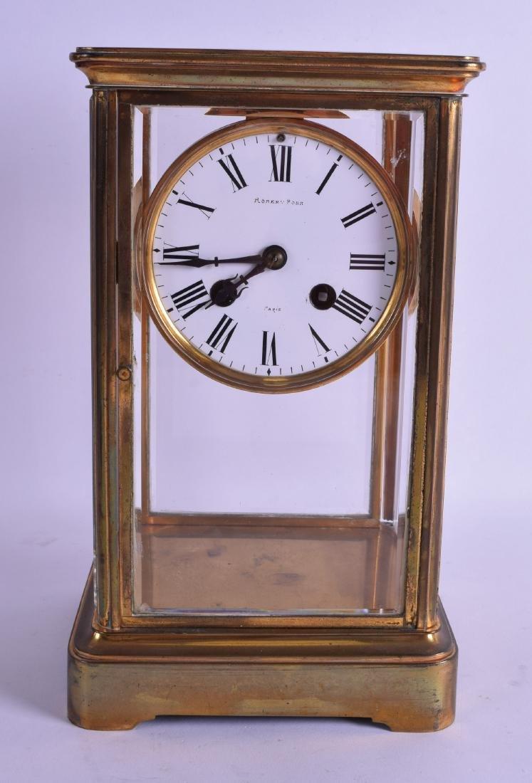 A 19TH CENTURY FRENCH FOUR GLASS REGULATOR MANTEL CLOCK