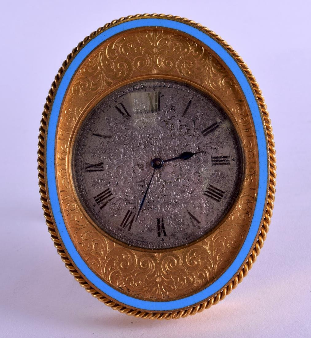 A 19TH CENTURY FRENCH ENGRAVED ORMOLU STRUT CLOCK with