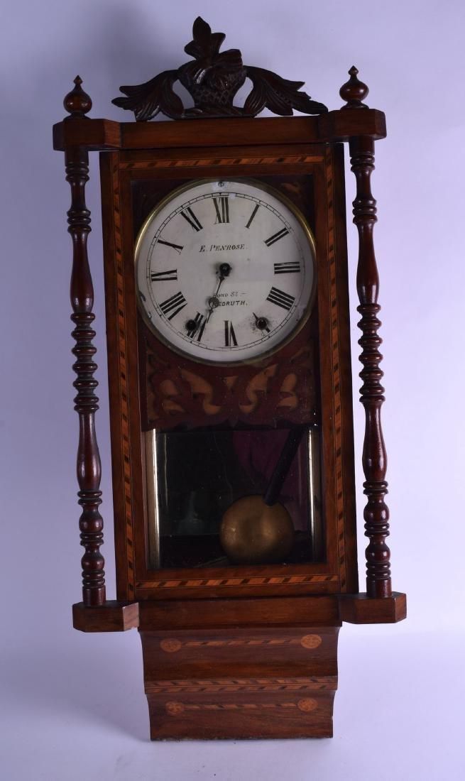 A 19TH CENTURY ENGLISH WALNUT REGULATOR WALL CLOCK