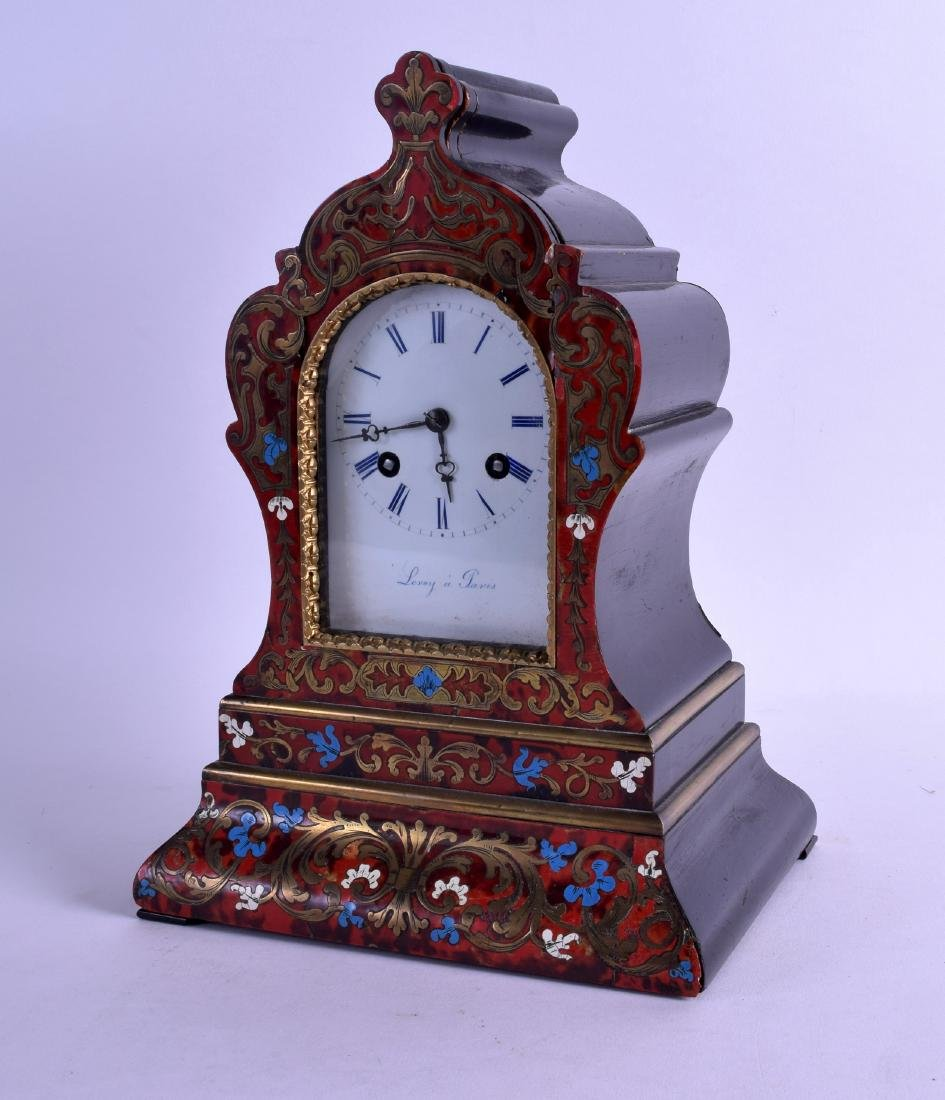 A 19TH CENTURY FRENCH ENAMELLED BOULLE MANTEL COCK