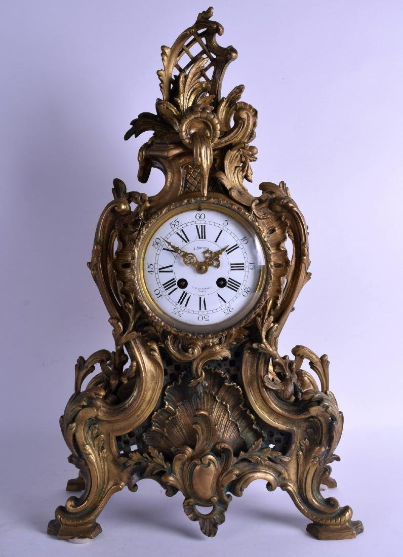 A LARGE 19TH CENTURY FRENCH BRONZE MANTEL CLOCK by J