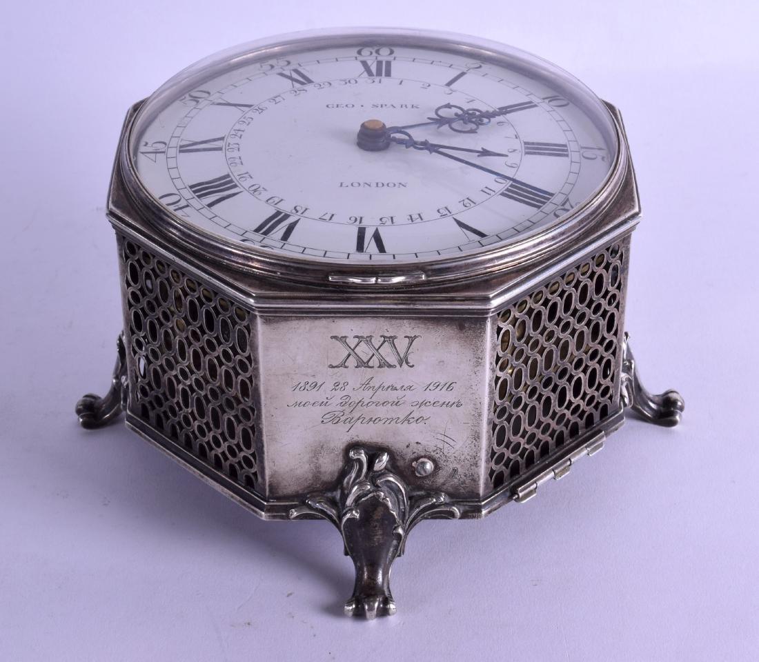 A FINE 18TH CENTURY ENGLISH SILVER OCTAGONAL DESK CLOCK