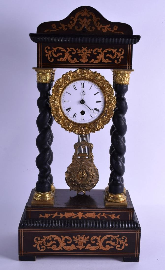 AN EARLY 20TH CENTURY CONTINENTAL PORTICO CLOCK with