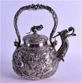 A VERY FINE 19TH CENTURY CHINESE EXPORT SILVER TEAPOT
