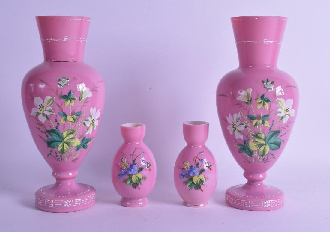 A PAIR OF VICTORIAN/EDWARDIAN PINK OPALINE GLASS VASES