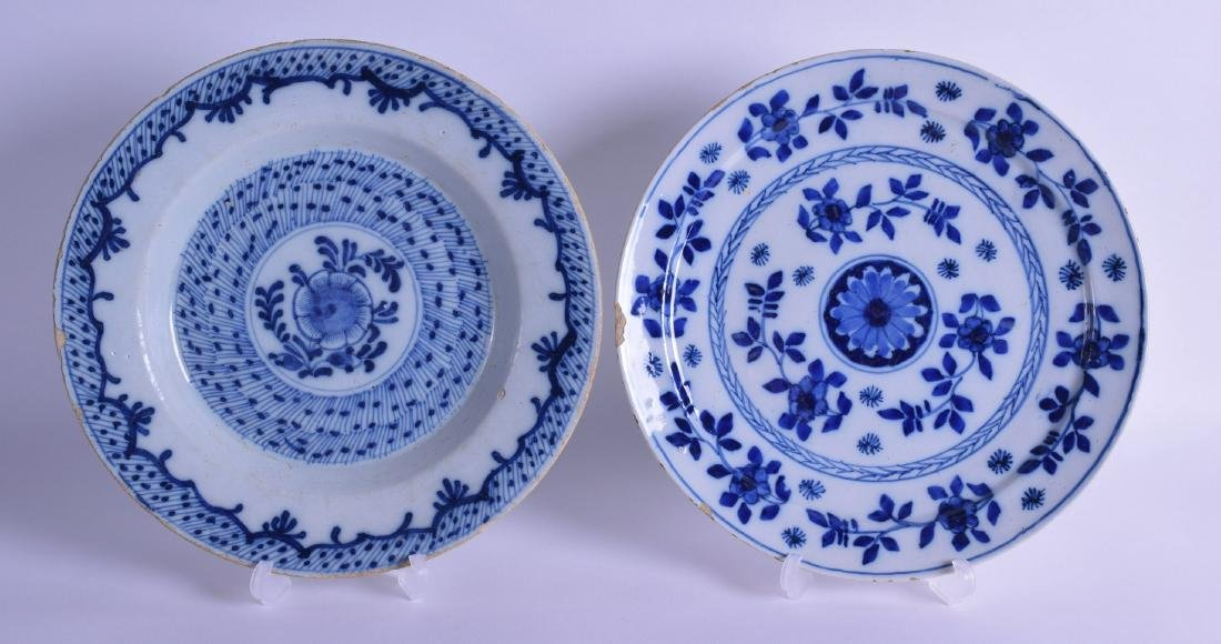 TWO 18TH CENTURY DELFT BLUE AND WHITE PLATES painted